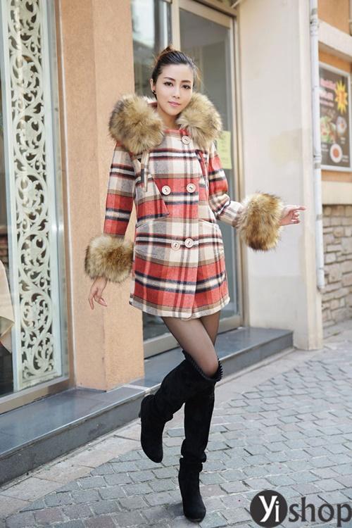 Diện áo khoác nữ cổ lông đẹp ấm áp ngày đại hàn đông 2021 - 2022 phần 14