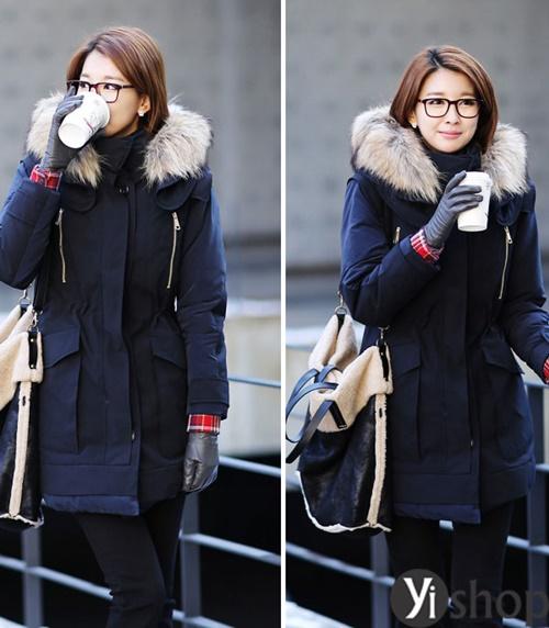 Diện áo khoác nữ cổ lông đẹp ấm áp ngày đại hàn đông 2021 - 2022 phần 4