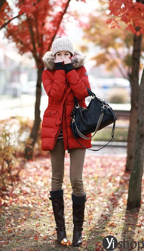 Diện áo khoác nữ cổ lông đẹp ấm áp ngày đại hàn đông 2021 - 2022 phần 5