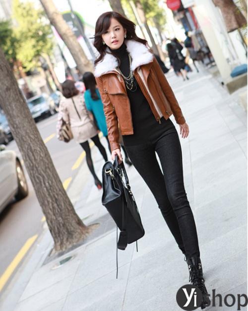 Diện áo khoác nữ cổ lông đẹp ấm áp ngày đại hàn đông 2021 - 2022 phần 9