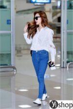 Diện combo áo sơ mi quần jeans đẹp cực chất như Jessica Jung xuân hè 2021 – 2022