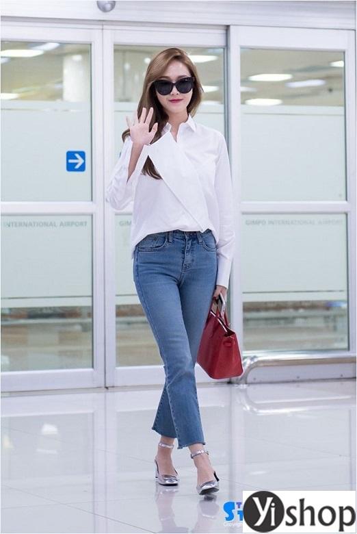 Diện combo áo sơ mi quần jeans đẹp cực chất như Jessica Jung xuân hè 2021 - 2022