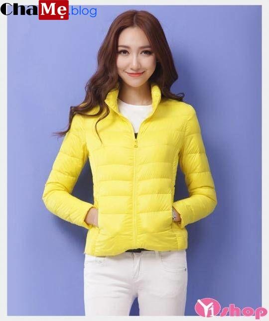 Áo khoác phao nữ màu vàng đẹp rạng ngời mà không chói lóa đông 2021 - 2022