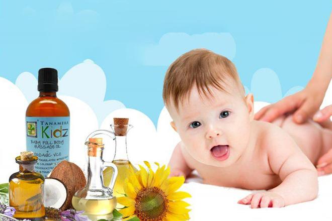 Dùng kem, dầu massage có thành phần thiên nhiên cho bé