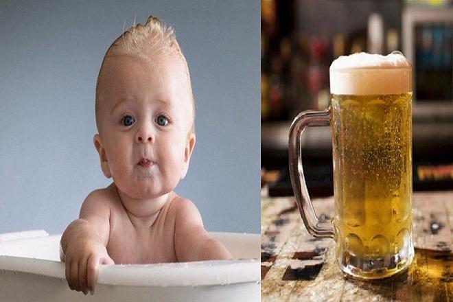 không nên tắm bia cho trẻ sơ sinh
