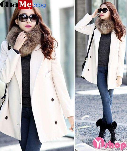 Kiểu áo khoác dạ nữ dáng dài đẹp đông 2021 - 2022 Hàn Quốc không lạnh
