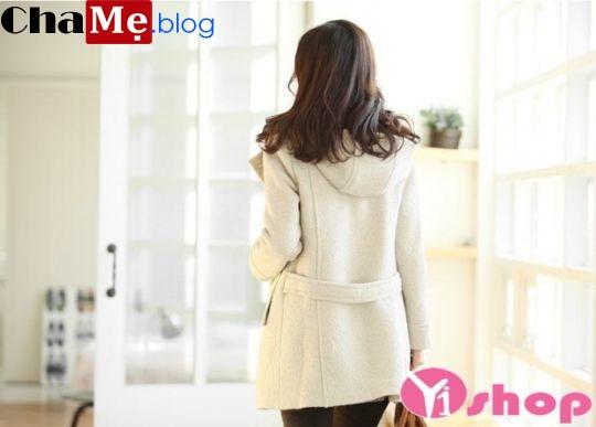 Kiểu áo khoác dạ nữ dáng dài màu trắng đẹp ấm áp đông 2021 - 2022