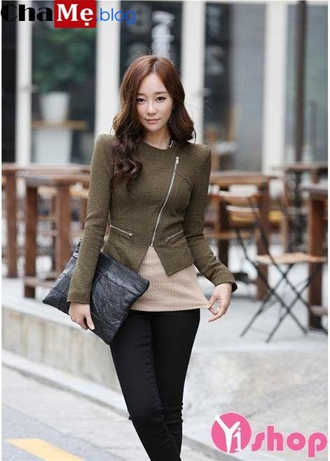 Kiểu áo khoác dạ nữ dáng ngắn đẹp sành điệu mùa lạnh đông 2021 - 2022
