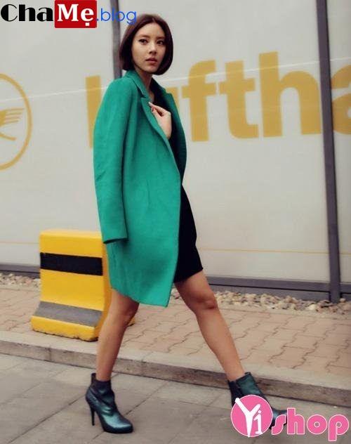 Kiểu áo khoác dạ nữ dáng suông đẹp thời trang công sở đông 2021 - 2022