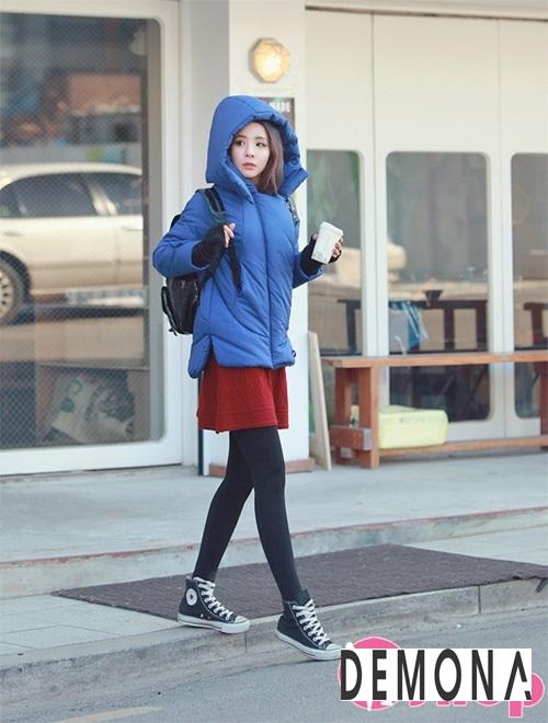 Kiểu áo khoác phao nữ có mũ Hàn Quốc đẹp đông 2021 - 2022 năng động ngày lạnh phần 12