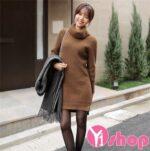 Kiểu váy đầm len đẹp thời trang Hàn Quốc ngày hè 2021 – 2022 trở gió lạnh