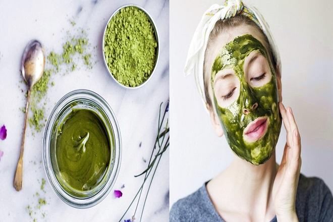 đắp mặt nạ trà xanh làm giảm vết mụn