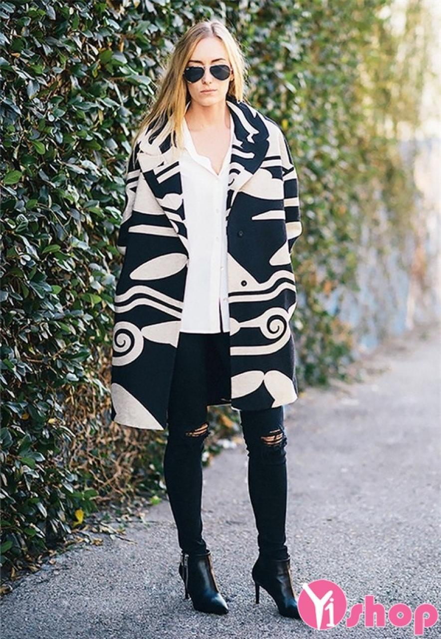 Mẫu áo khoác dạ nữ dáng dài đẹp mùa thu đông 2021 - 2022 phong cách hiện đại