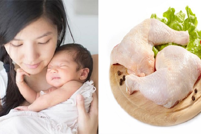sinh mổ ăn thịt gà được không