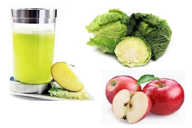 sinh tố bắp cải táo