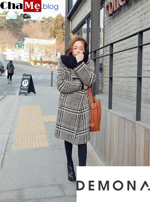 Thời trang áo khoác dạ nữ sài gòn tphcm oversize kẻ caro đẹp thời thượng đông 2021 - 2022