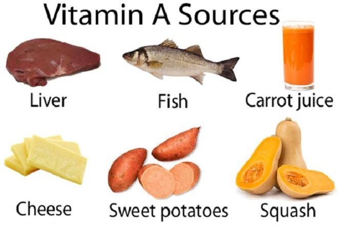 nếu muốn con có một làn da trắng hồng thì các mẹ nên thường xuyên sử dụng các thực phẩm giàu vitamin A