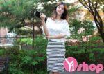 Váy đầm kẻ sọc ngang đẹp hè 2021 – 2022 cho nàng gầy gò thêm cân đối