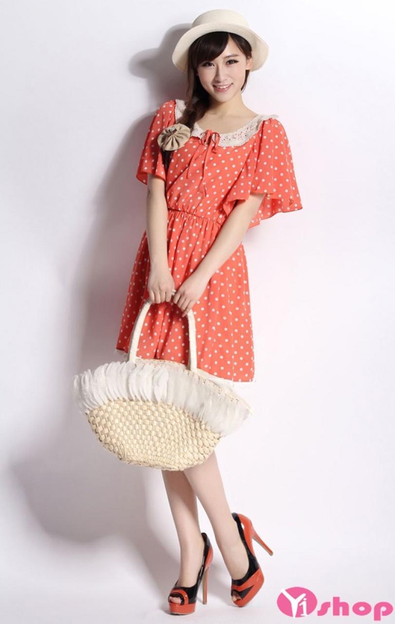 Váy đầm liền chấm bi xòe đẹp xu hướng thời trang Hàn Quốc hè 2021 - 2022
