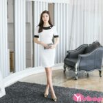 Váy đầm liền họa tiết đen trắng đẹp thời trang công sở Hàn Quốc hè 2021 – 2022
