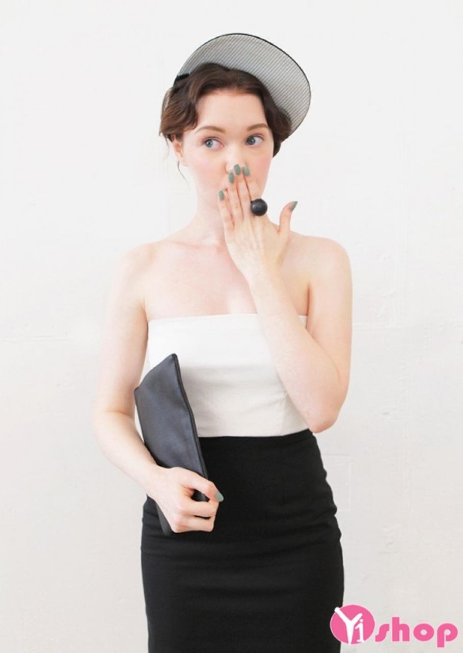 Váy đầm màu trắng đen đẹp kiểu Hàn Quốc duyên dáng hè 2021 - 2022