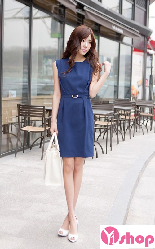 Váy đầm màu xanh công sở đẹp hè 2021 - 2022 tôn dáng chuẩn hoàn hảo