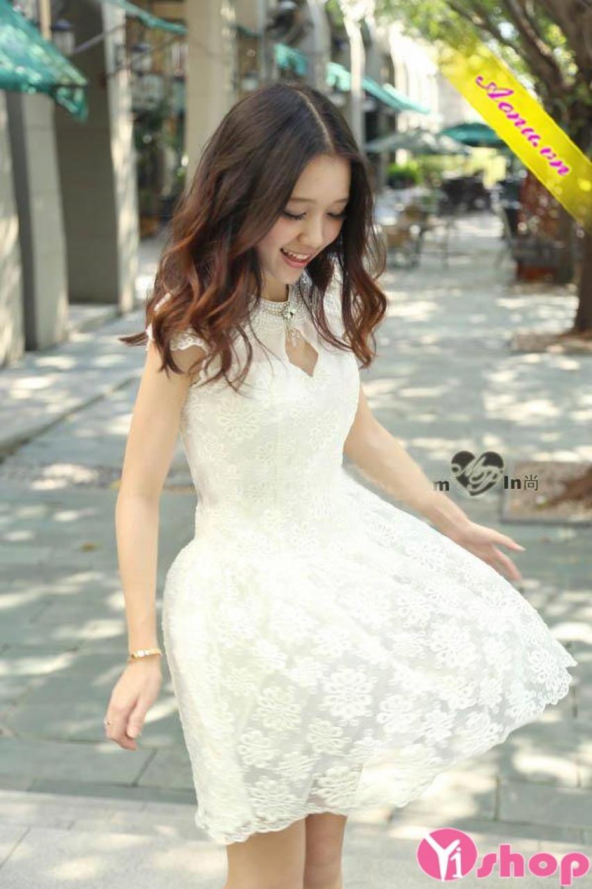 Váy đầm ren xòe đẹp Hàn Quốc mùa hè 2021 - 2022 cho nàng dịu dàng