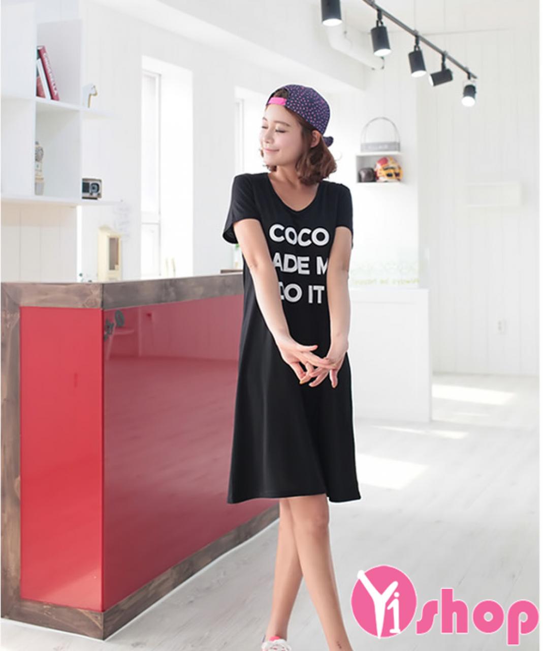 Váy đầm thun liền thân đẹp phong cách thời trang Hàn Quốc hè 2020 - 2021