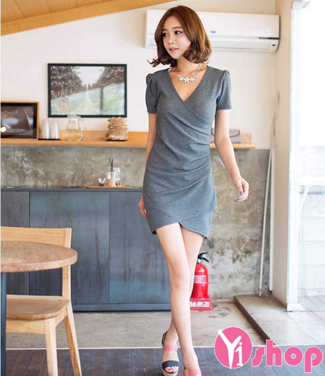 Váy đầm thun liền thân đẹp phong cách thời trang Hàn Quốc hè 2021 - 2022