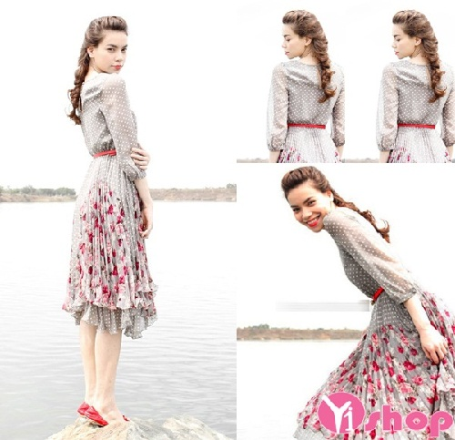 Váy đầm xếp ly liền thân đẹp thời trang dạo phố đón hè 2020 - 2021