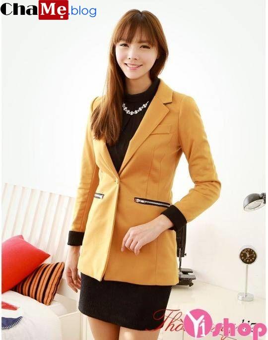 Xao xuyến với áo khoác vest nữ dáng dài đẹp đi làm ngày lạnh đông 2021 - 2022