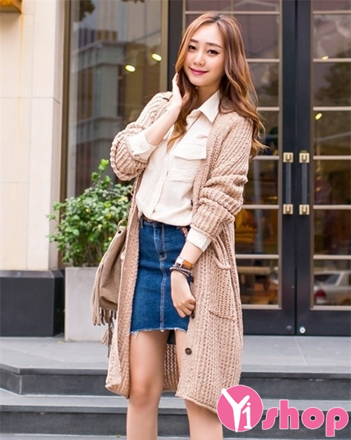 Xu hướng áo khoác cardigan nữ dáng dài đẹp thu đông 2019 ấm áp dạo phố