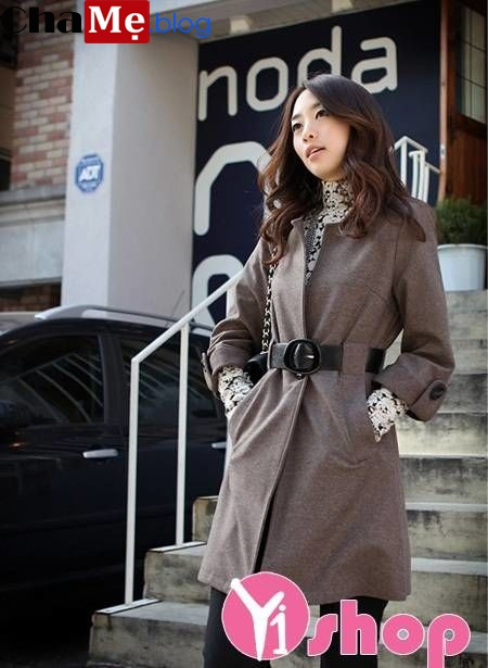 Xúng xính áo khoác măng tô nữ hàn quốc đẹp diện ngày gió thu đông 2021 - 2022
