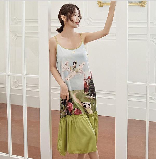 kiểu đồ đẹp mặc ở nhà cho nữ mát váy đầm lụa lụa
