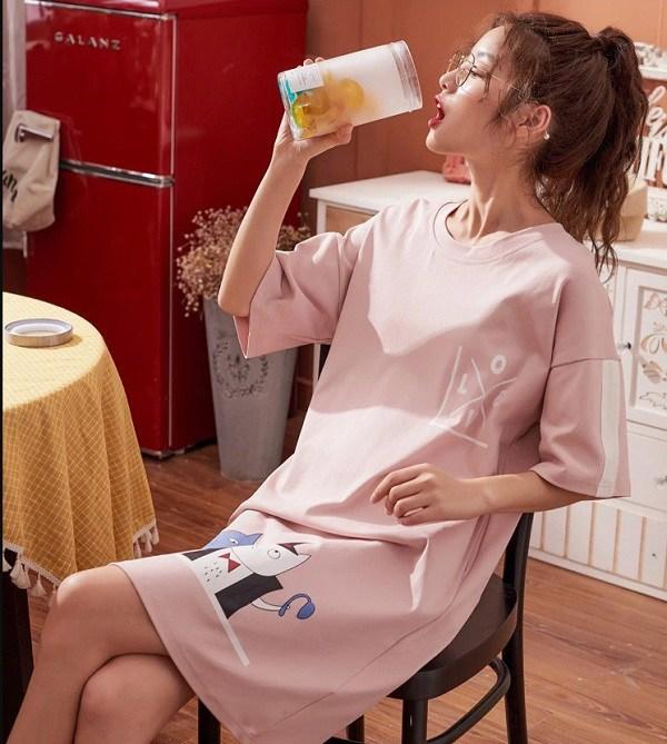 Kiểu đồ đẹp mặc ở nhà cho nữ mát mẻ năng động váy thun đồ thun ngắn