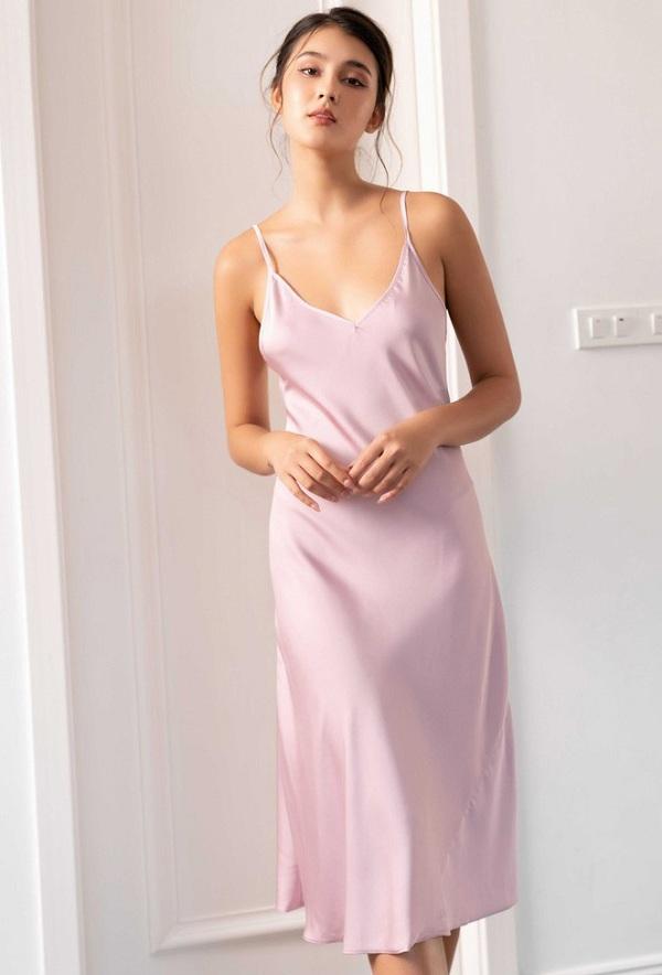 kiểu đồ đẹp mặc ở nhà cho nữ mát váy đầm lụa