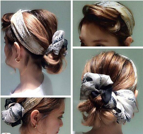 Kiểu tóc ngắn buộc kết hợp phụ kiện sành điệu cho bạn gái. Ảnh: Internet