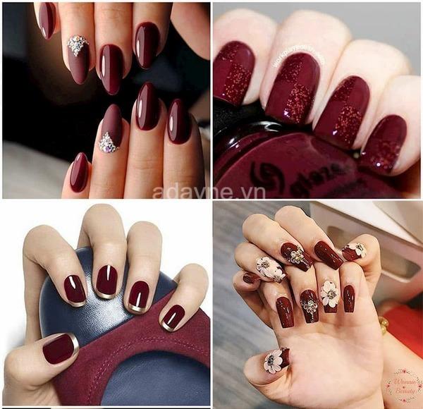 Nail tay màu đỏ rượu sang trọng