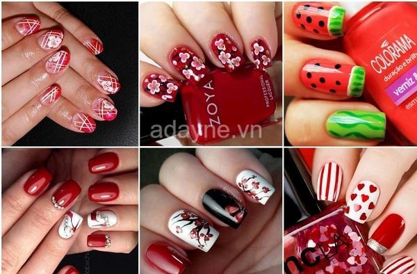 Mẫu nail màu đỏ đẹp họa tiết hoa, đính đá