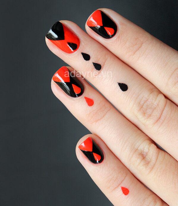 mẫu nail đỏ đẹp họa tiết giọt máu