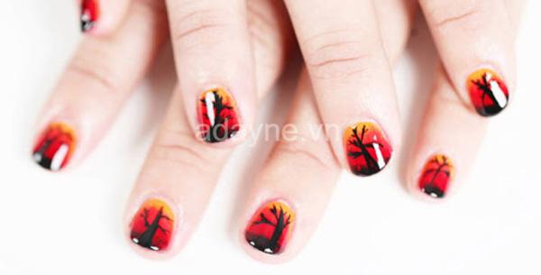 mẫu nail đỏ đẹp họa tiết nhánh cây