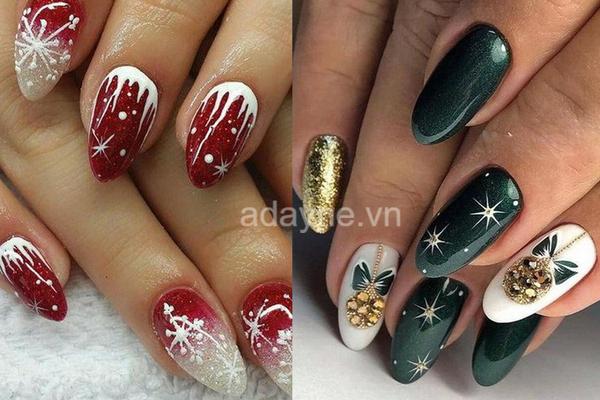 mẫu nail họa tiết giáng sinh màu đỏ và xanh lá