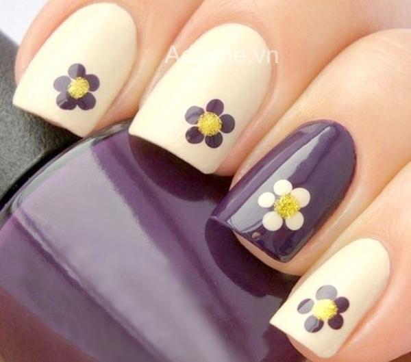 mẫu nail vẽ hoa đơn giản