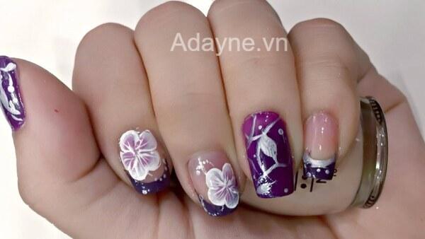 mẫu nail họa tiết hoa 3d