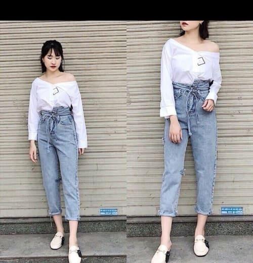 Phối quần jean cạp cao cho người béo bụng