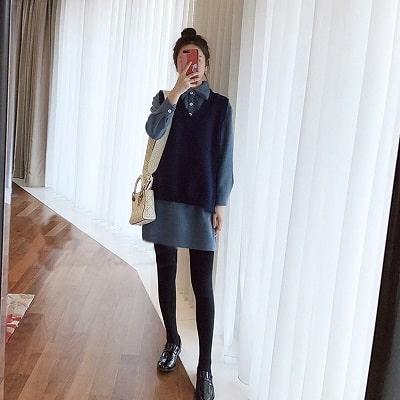 phối váy len dài và áo cho người béo bụng