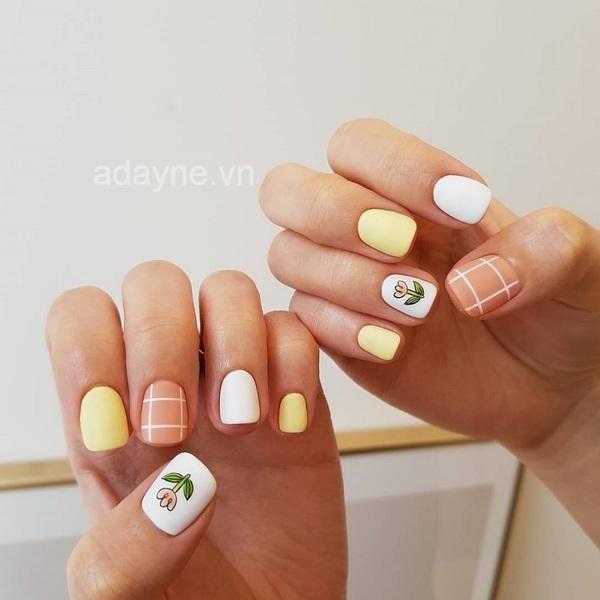 Mẫu nail Hàn Quốc tone màu pastel phối đường kẻ, vẽ hoa siêu hot