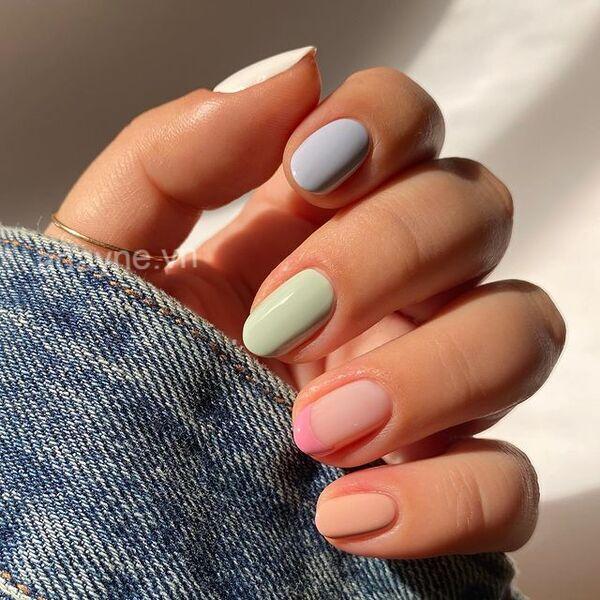Đơn giản mẫu nail đẹp pastel nhiều màu mang đến cho phái nữ vẻ đẹp ngọt ngào, đơn thuần, tinh tế
