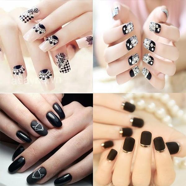 Đơn giản mẫu nail đẹp màu đen phong cách tối giản luôn thuộc top đầu thịnh hành