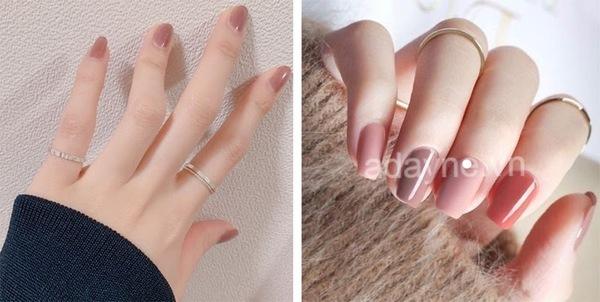 Đơn giản mẫu nail đẹp tone nude hay tone pastel tôn lên đôi tay trắng trẻo, thanh thoát